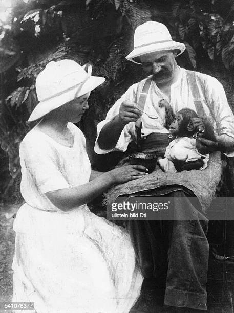 Albert Schweitzer theologian doctor organist and musicologist care of a chimpanzee in the hospital of Albert Schweitzer in Lambarene Gabun with a...