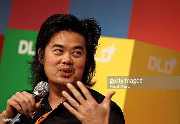 Albert Shum director of Mobile Experience Design at Microsoft addresses the audience during the Digital Life Design conference at HVB Forum on...