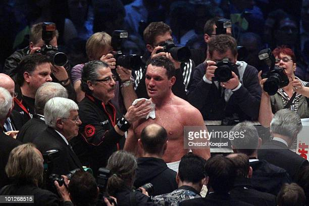 Albert Sosnowski of Poland looks dejected after losing in the tenthz round after knocked out against Vitali Klitschko the WBC Heavyweight World...