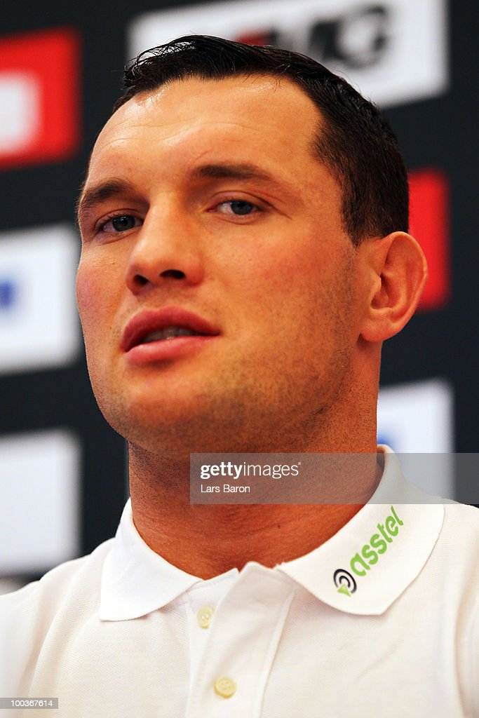 Albert Sosnowski of Poland smiles during a press conference at Stadtgarten Steele on May 24, 2010 in Essen, Germany. The WBC Heavyweight World Championship fight between Vitali Klitschko of Ukraine and Albert Sosnowski of Poland will take place at the Veltins Arena on May 29, 2010 in Gelsenkirchen, Germany.
