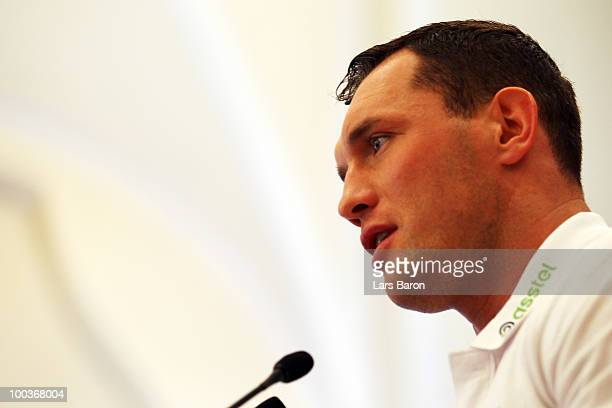 Albert Sosnowski of Poland speaks during a press conference at Stadtgarten Steele on May 24 2010 in Essen Germany The WBC Heavyweight World...
