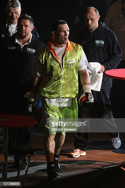 Albert Sosnowski of Poland walks to the ring before fighting against Vitali Klitschko the WBC Heavyweight World Championship fight between Vitali...