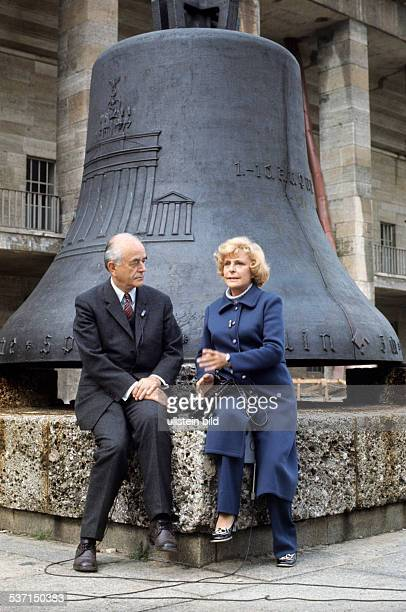 Albert Speer Albert Speer Architect Germany Albert Speer and Leni Riefenstahl sitting in front of the Olympic bell at the Olympic Stadium in Berlin...