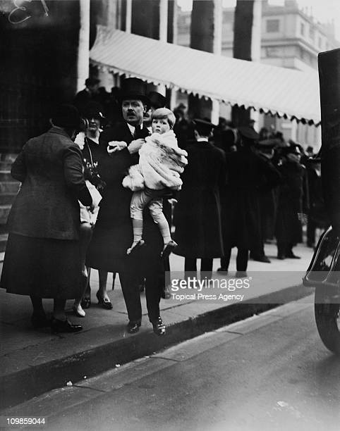 Albert Spencer 7th Earl Spencer with his son Edward John Spencer at the wedding of the Marquis of Hamilton and Lady Kathleen Crichton at St...