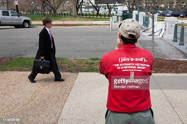 Albert Stecklein III an antiabortion activist with Defend Life from Bethesda Maryland attends a rally opposing federal funding for Planned Parenthood...