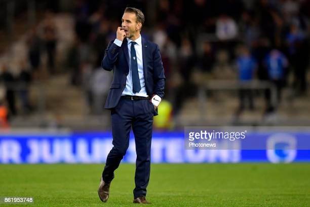 Albert Stuivenberg head coach of KRC Genk shows dejection during the Jupiler Pro League match between KRC Genk and RE Mouscron on October 14 2017 in...