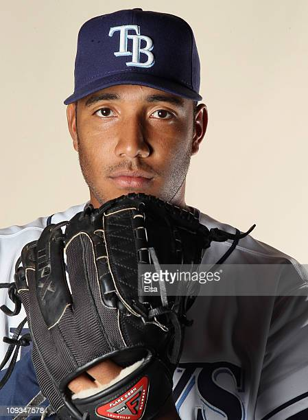 Albert Suarez of the Tampa Bay Rays poses for a portrait during the Tampa Bay Rays Photo Day on February 22 2011 at the Charlotte Sports Complex in...