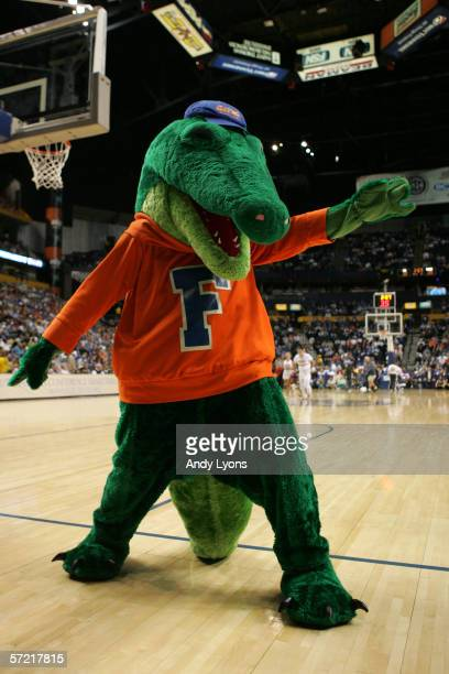 Albert the mascot of the Florida Gators entertains the crowd against the LSU Tigers during the semifinals on day 3 of the SEC Men's Basketball...