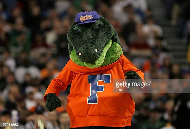 Albert the mascot of the Florida Gators is seen on court the Villanova Wildcats during their Minneapolis Regional Final of the 2006 NCAA Divison I...