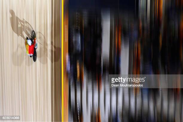 Albert Torres Barcelo of Spain competes in the Men's Omnium Points Race 44 during the Tissot UCI Track Cycling World Cup 20162017 held at the sport...