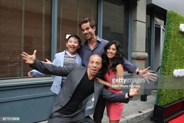 Albert Tsai David Walton Matt Murray and Liza Lapira of 9JKL pose for a photograph at the CBS Summer soirée held on August 1 2017 in Los Angeles CA