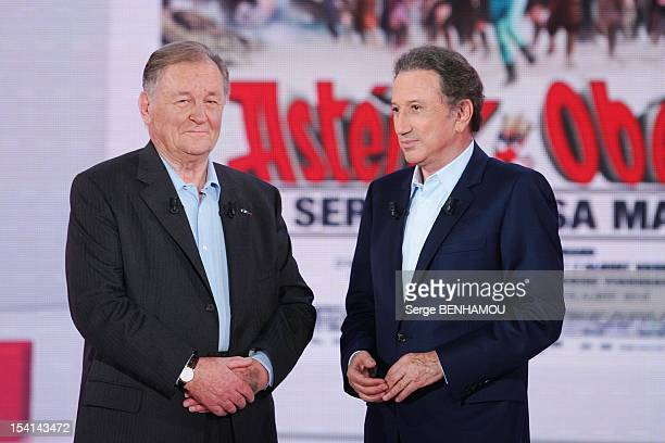 Albert Uderzo and Michel Drucker attend Vivement Dimanche Tv show on October 3 2012 in Paris France