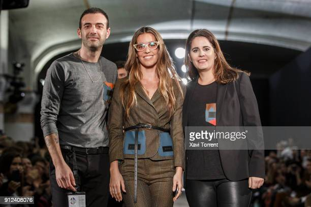Albert Vilagrasa Ona Carbonell and Andrea Arquero poses at the ending of the Antonio Miro show during the Barcelona 080 Fashion Week on January 30...