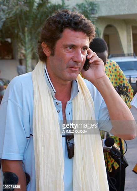 Albert Vilalta one of the two hostages released by AlQaeda's North African wing after nine months in captivity in Mali makes a phone call upon...