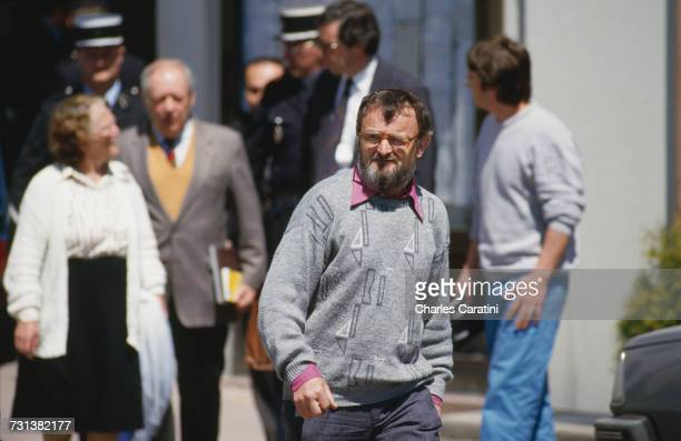 Albert Villemin and other members of the family of murdered four yearold Grégory Villemin leaving the town hall in Gerardmer in northeastern France...