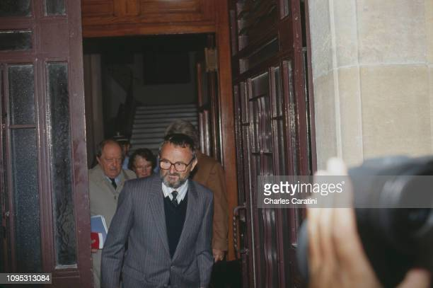 Albert Villemin grandfather of murdered four yearold boy Grégory Villemin with lawyer Paul Lombard at the exit of the court in Dijon for an audience...