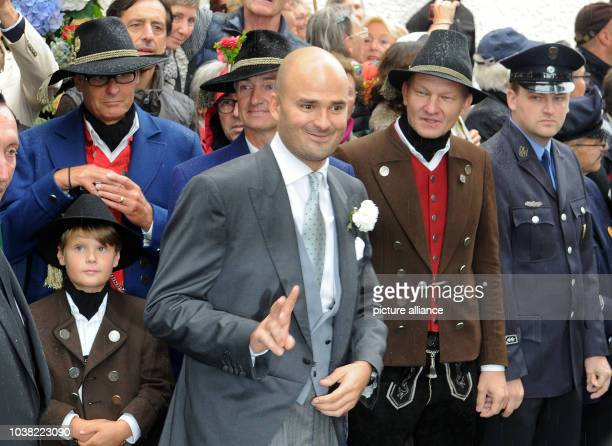 Albert von Thurn und Taxis attends the wedding of his sister princess Maria Theresia von Thurn und Taxis at the church of Saint Joseph in Tutzingen...
