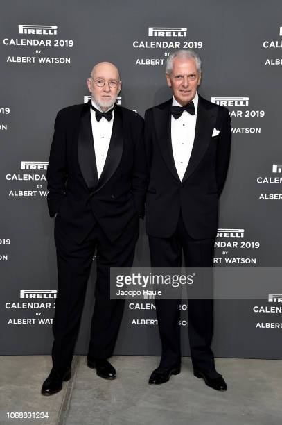 Albert Watson and Marco Tronchetti Provera walk the red carpet ahead of the 2019 Pirelli Calendar launch gala at HangarBicocca on December 5, 2018 in...