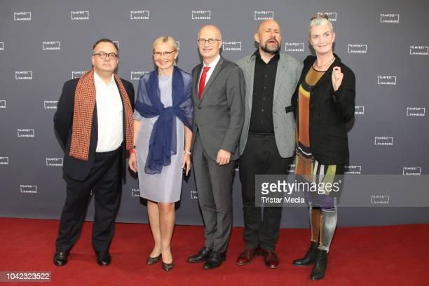 Albert Wiederspiel, Eva-Maria Tschentscher, Peter Tschentscher, Benedikt Erlingsson and Halldora Geirharosdottir attends the opening of the Hamburg...