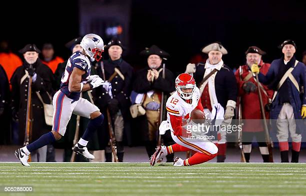 Albert Wilson of the Kansas City Chiefs catches a third quarter touchdown against Logan Ryan of the New England Patriots during the AFC Divisional...