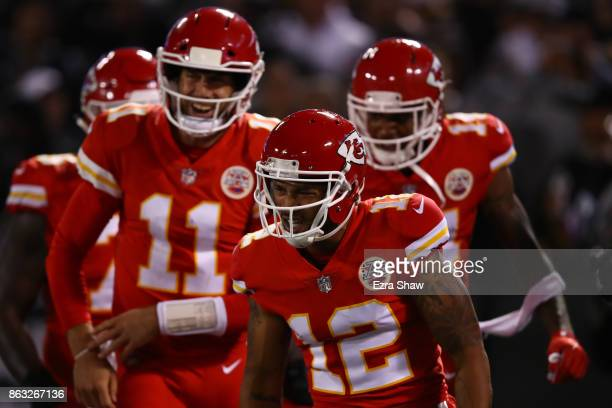 Albert Wilson of the Kansas City Chiefs celebrates after a 63yard touchdown catch against the Oakland Raiders during their NFL game at OaklandAlameda...