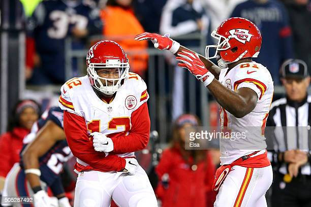Albert Wilson of the Kansas City Chiefs celebrates his third quarter touchdown with Jason Avant of the Kansas City Chiefs against the New England...