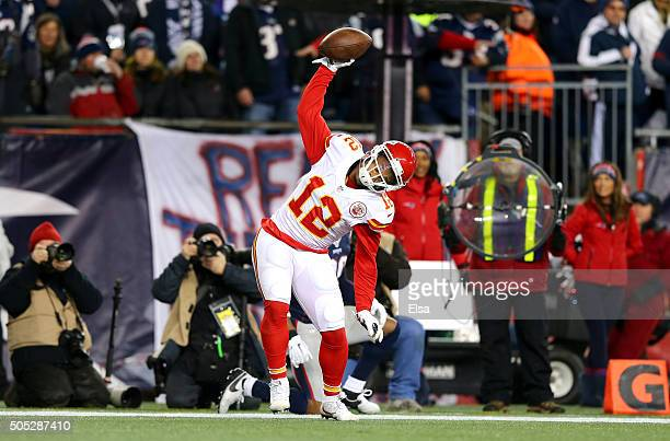 Albert Wilson of the Kansas City Chiefs spikes the ball after a third quarter touchdown against the New England Patriots during the AFC Divisional...