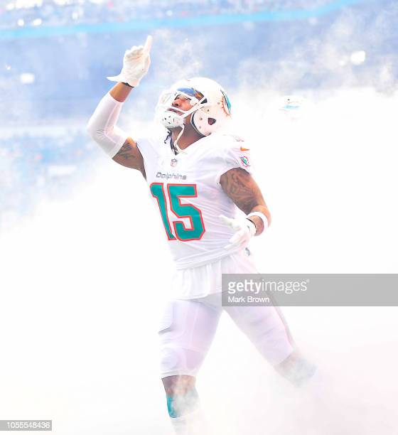 Albert Wilson of the Miami Dolphins gets introduced before the game against the Chicago Bears at Hard Rock Stadium on October 14 2018 in Miami Florida