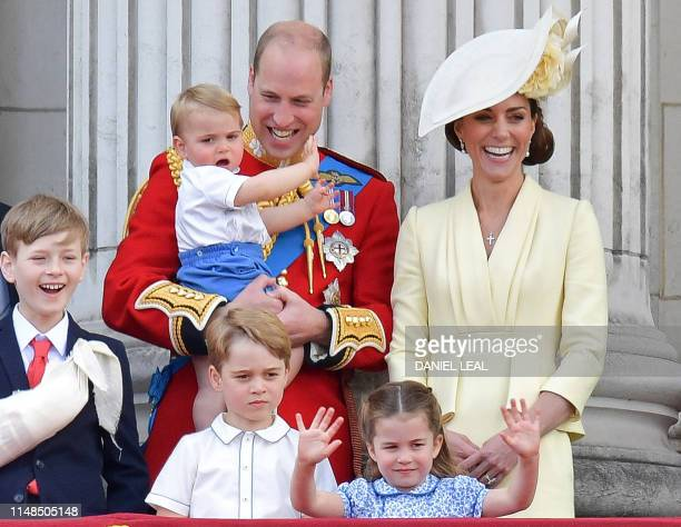 Albert Windsor Britain's Prince William Duke of Cambridge holding Prince Louis Prince George Princess Charlotte and Britain's Catherine Duchess of...