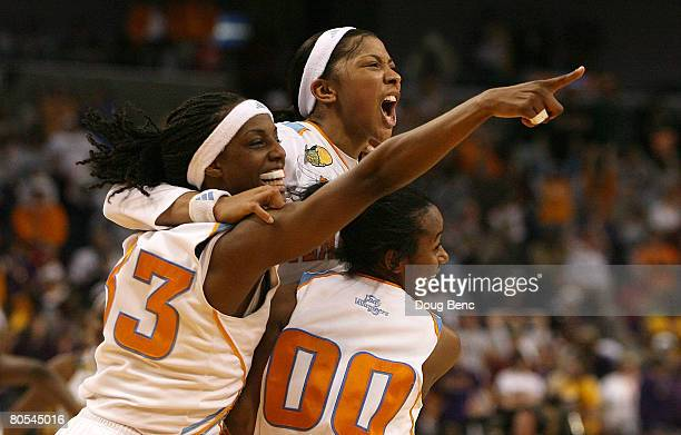 Alberta Auguste Candace Parker and Shannon Bobbitt of the Tennessee Lady Volunteers celebrate their 4746 win against the LSU Lady Tigers during their...