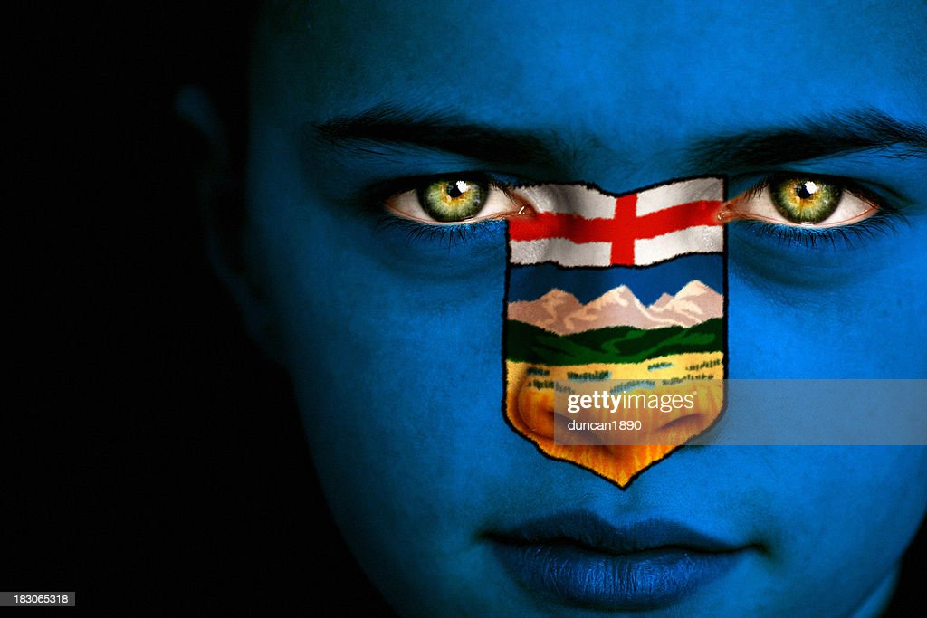 alberta canadian flag boy stock photo getty images