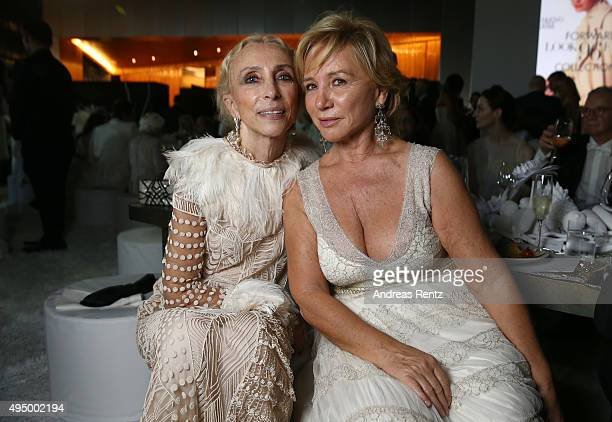 Alberta Ferretti and Franca Sozzani attend the Gala event during the Vogue Fashion Dubai Experience 2015 at Armani Hotel Dubai on October 30 2015 in...