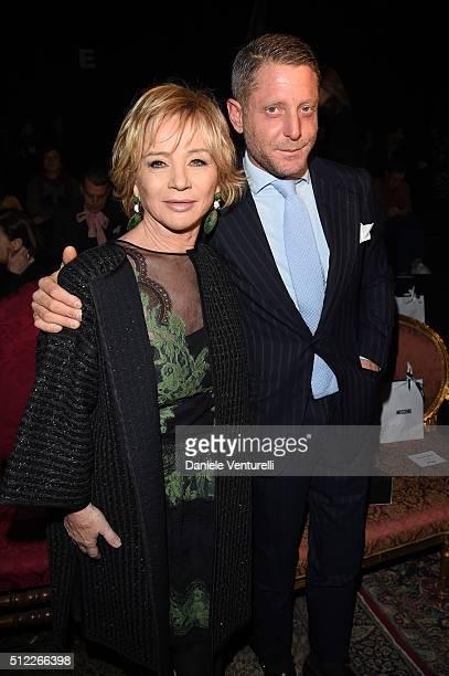 Alberta Ferretti and Lapo Elkann attend the Moschino show during Milan Fashion Week Fall/Winter 2016/17 on February 25 2016 in Milan Italy