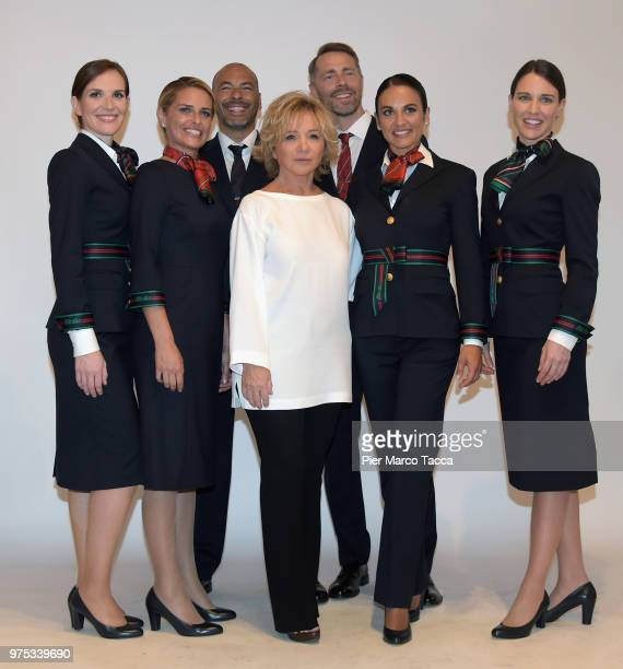 Alberta Ferretti attends press conference to unveil new Alitalia uniforms created by Alberta Ferretti on June 15 2018 in Milan Italy