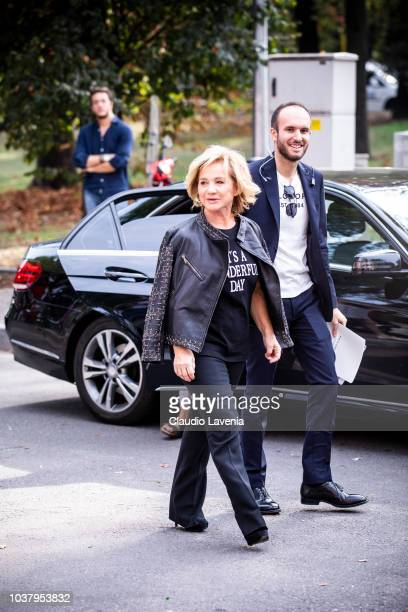Alberta Ferretti wearing black tshirt black pants and black leather jacket is seen before the Philosophy by Lorenzo Serafini show during Milan...
