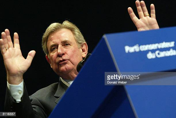 Alberta premier Ralph Klein delivers a keynote address prior to the convention electing a new leader of the Conservative Party of Canada at the Metro...
