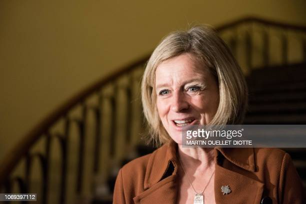 Alberta Prime Minister Rachel Notley attends a meeting of the prime ministers of the Canadian provinces on December 7 in Montreal The meeting was...
