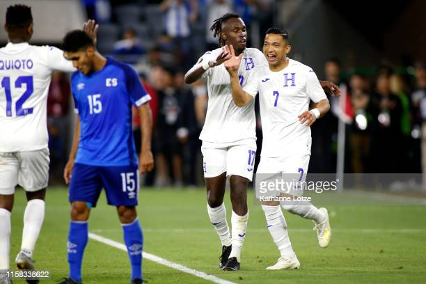 Alberth Elis of Honduras and Emilio Izaguirre of Honduras celebrate Izaguirre's goal during the second half of Honduras v El Salvador: Group C - 2019...