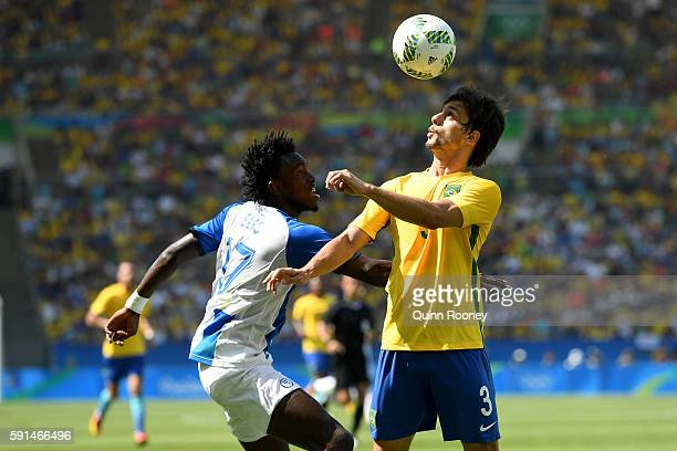 Alberth Elis of Honduras and Rodrigo Caio of Brazil in action during the Men's Semifinal Football match between Brazil and Honduras at Maracana...