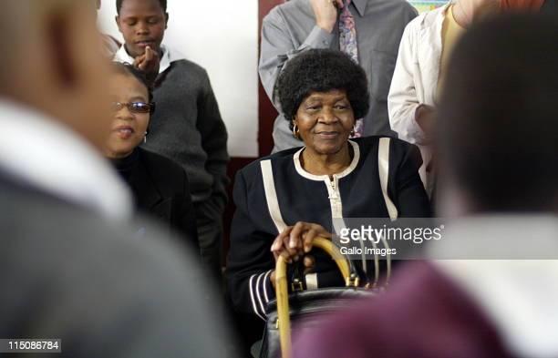 Albertina Sisulu attends the feeding programme for children at Orange Farm June 1 2004 in Johannesburg South Africa Sisulu the former deputy...