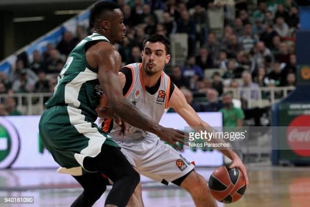 Alberto Abalde #6 of Valencia Basket competes with Athanasios Antetokounmpo #43 of Panathinaikos Superfoods Athens during the 2017/2018 Turkish...