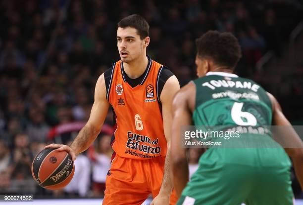Alberto Abalde #6 of Valencia Basket competes with Axel Toupane #6 of Zalgiris Kaunas in action during the 2017/2018 Turkish Airlines EuroLeague...
