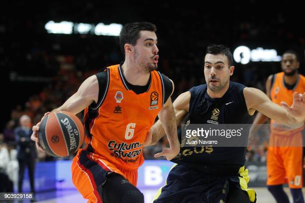 Alberto Abalde #6 of Valencia Basket competes with Kostas Sloukas #16 of Fenerbahce Dogus Istanbul during the 2017/2018 Turkish Airlines EuroLeague...