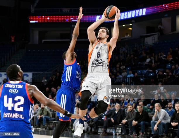 Alberto Abalde #6 of Valencia Basket in action during the 2017/2018 Turkish Airlines EuroLeague Regular Season Round 21 game between Anadolu Efes...