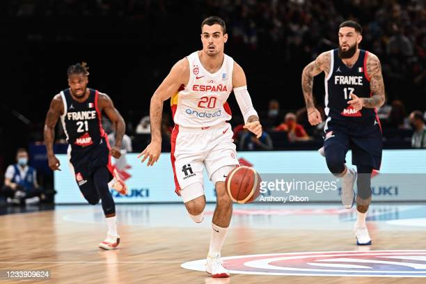 Alberto ABALDE of Spain and Vincent POIRIER of France during the preparation for Olympic Games basketball match between France and Spain at Hotel...