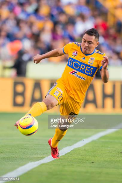 Alberto Acosta of Tigres controls the ball during the 15th round match between Tigres UANL and Cruz Azul as part of the Torneo Clausura 2018 Liga MX...
