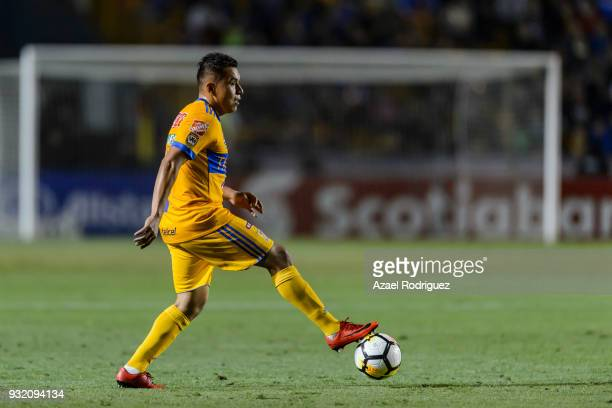 Alberto Acosta of Tigres controls the ball during the quarterfinals second leg match between Tigres UANL and Toronto FC as part of the CONCACAF...