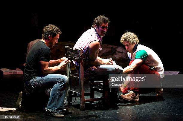 Alberto Agnesi Alejandro Avila and Carlos Mota acting in the theater play Cash at Polyforum Cultural Siqueiros Theater on March 22 2011 in Mexico...