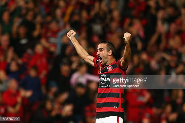 Alberto Aguilar of the Wanderers celebrates winning the ALeague Semi Final match in extra time between the Western Sydney Wanderers and the Brisbane...