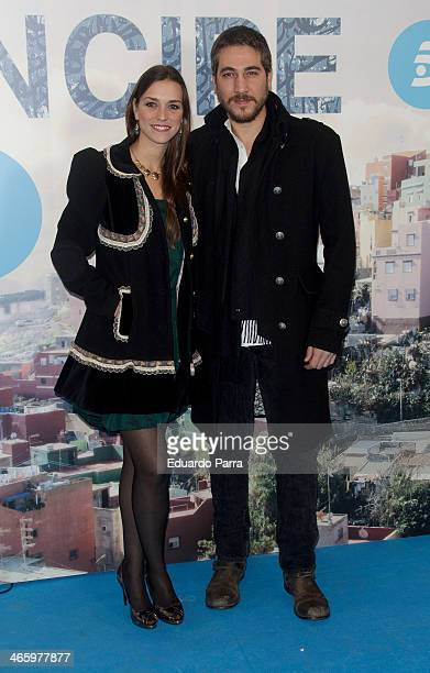 Alberto Ammann and Clara Mendez Leite attend 'El principe' premiere at Callao cinema on January 30 2014 in Madrid Spain